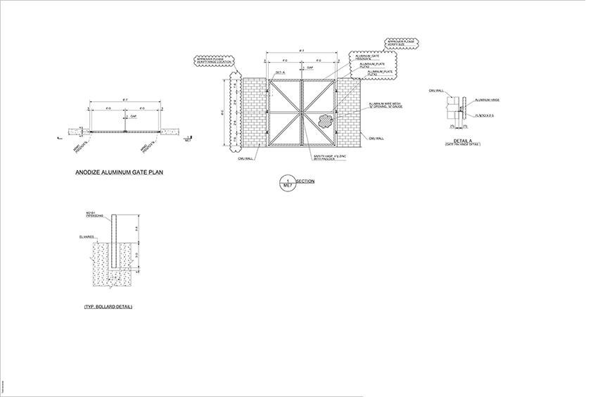 Detailing Drawing Samples Dumpster Gate