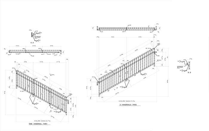 Structural Steel Railing Drawings Examples